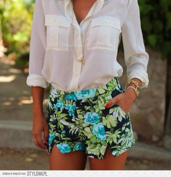 pants flowers shirt shorts printed shorts blouse tumblr summer outfits