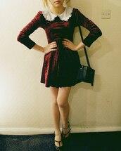 dress,velvet,shoes,burgundy,peter pan collar,peter pan collat dress,a line dress,skater skirt,skater dress,grunge,velvet dress,red velvet,red velvet dress,collared dress,winter dress,long sleeve dress