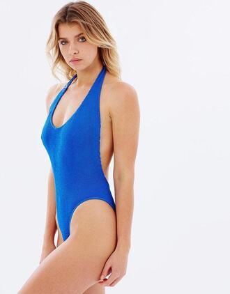 swimwear blue one piece monokini halter bikini halter one piece bodysuit cheeky cheeky bikini open back cobalt blue one piece swimsuit