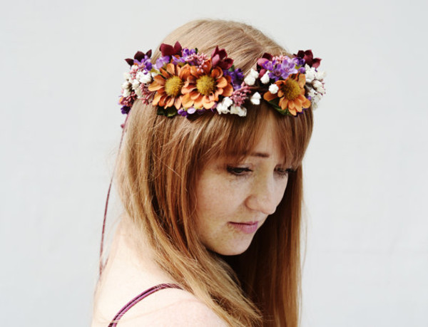 hair accessory violet wedding woodland flower crown flower headband hair accessory wildflower hippie boho hippie flower crown crown hipster wedding