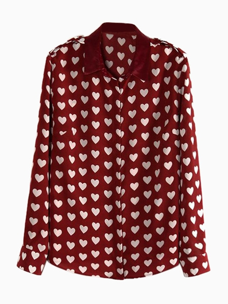 Wine Red Heart Shirt | Choies