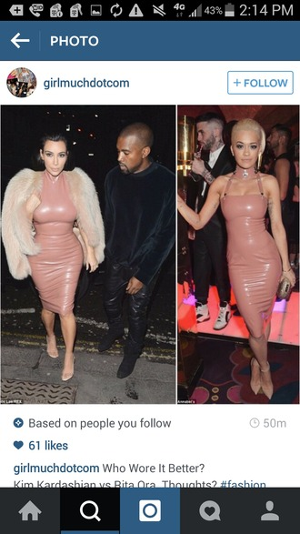 dress leather dress pink dress soft pink dress nude pink