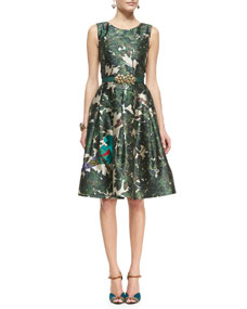 Oscar de la Renta Forest Printed A-Line Dress