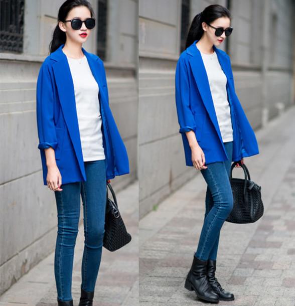 coat blazer blue jeans boots casual casual blogger mixmoss.com