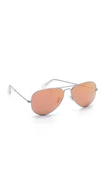 Ray-Ban Flash Lens Matte Aviator Sunglasses | SHOPBOP