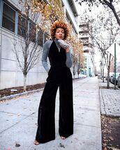 jumpsuit,black jumpsuit,sandals,high neck,handbag,streetstyle,autumn/winter
