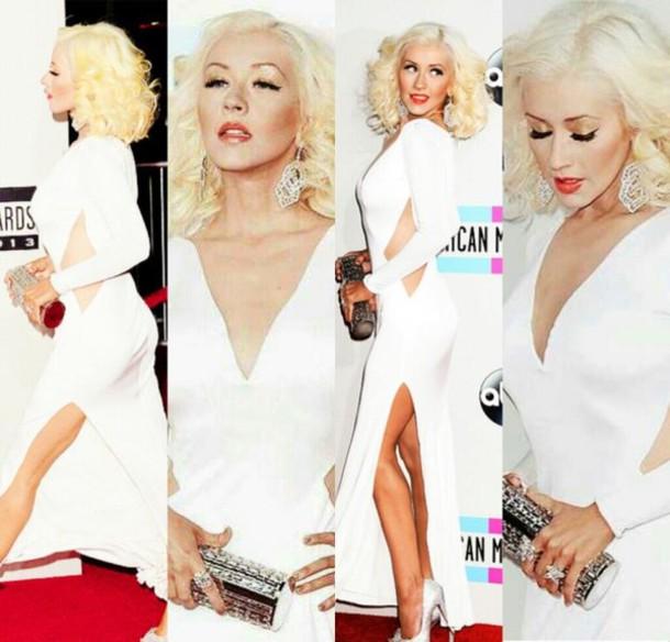 dress white dress slit white tight formal gown