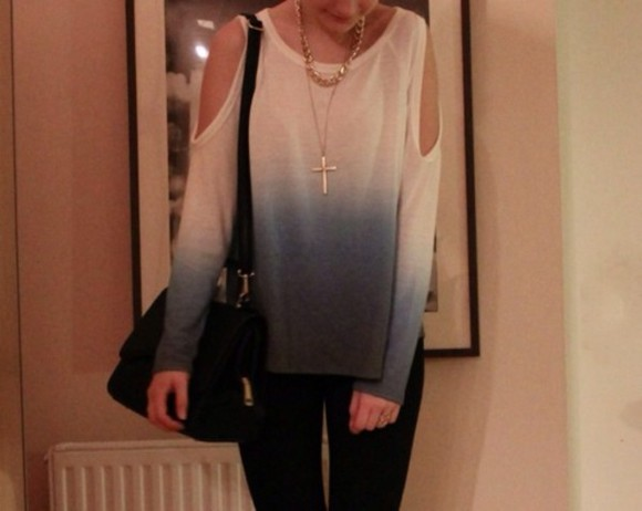 blue blouse white dip dyed