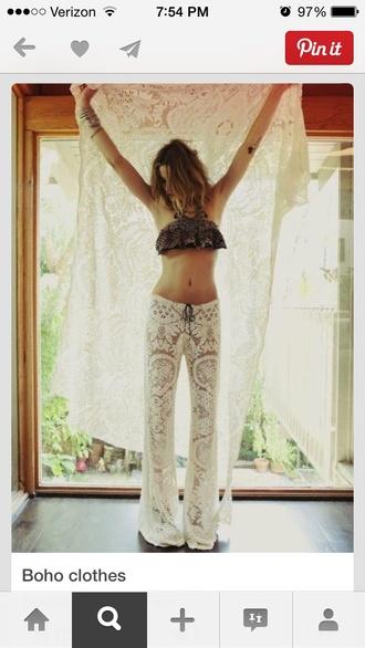 pants lace boho white