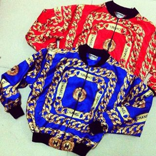 Clients !! chanel inspired print gold chain bomber jacket red or blue $500 hit me for orders. vintage 90's photo
