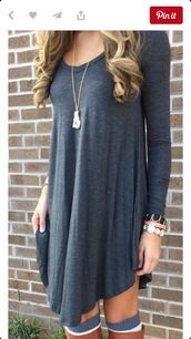dress,shirt dress,grey,long sleeves,cotton,shirt,free vibrationz,grey dress,grey cotton dress,knitted dress