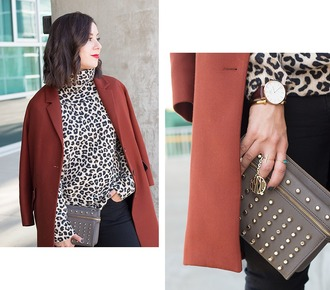 adventures in fashion blogger sweater studded bag leather pouch wool coat leopard print daniel wellington