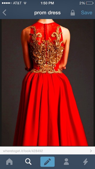 gold prom dress gold sequins sequence red dress beading