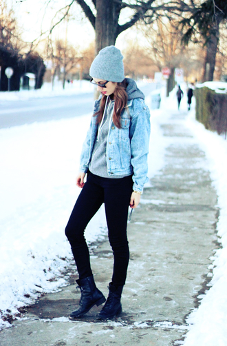 classisinternal jacket sweater jeans sunglasses hat bag jewels denim jacket black pants combat boots grey hat
