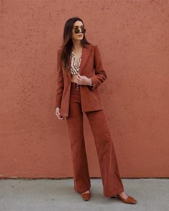 pants corduroy brown brown pants wide-leg pants blazer matching set two piece pantsuits shoes top crop tops sunglasses