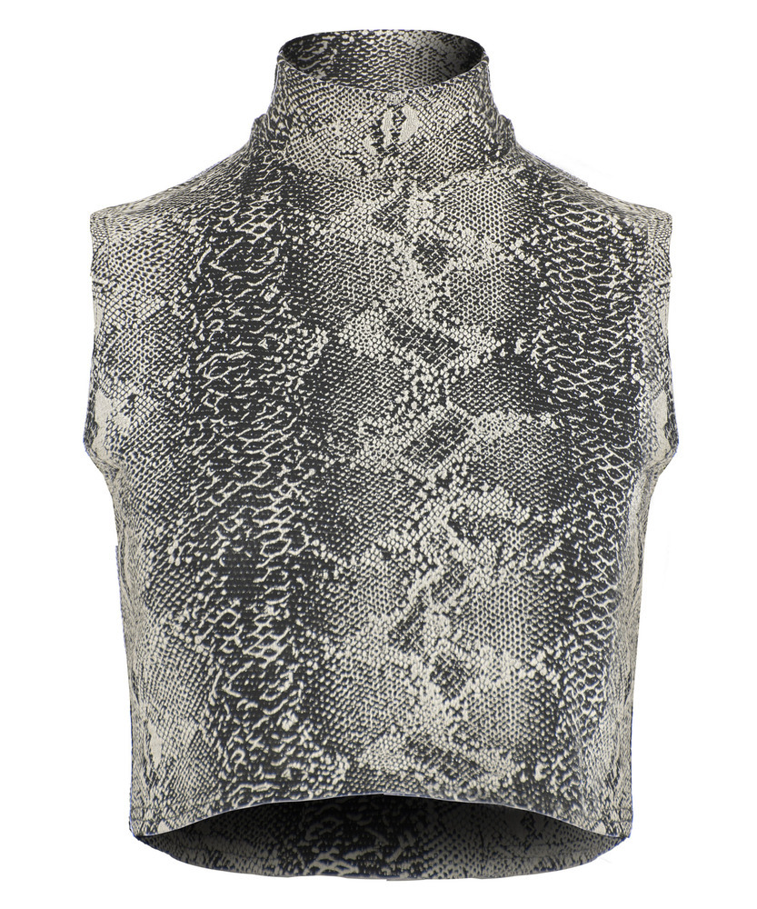 Snake along lurex sleeveless turtleneck crop top