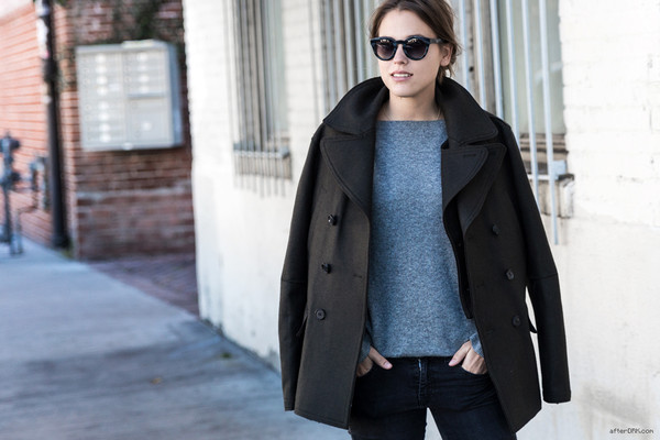 after drk coat sweater jeans sunglasses