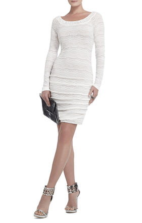 Halle Lace-Shirred Dress | BCBG