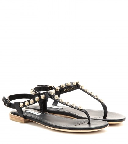 mytheresa.com -  Giant Stud textured-leather sandals - Flat - Sandals - Shoes - Luxury Fashion for Women / Designer clothing, shoes, bags