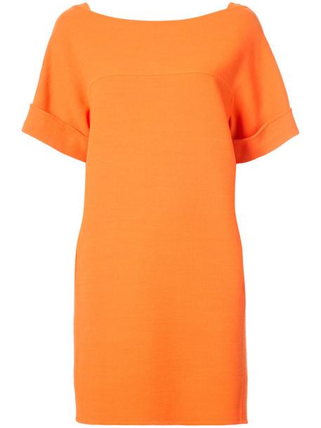 oscar de la renta dress shift dress back women wool yellow orange