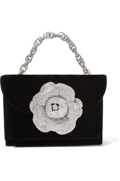 oscar de la renta embellished bag shoulder bag black velvet