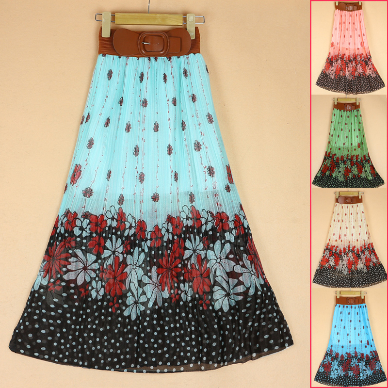 Bohemian Floral Maxi Skirt with Belt from Luxury Fashion & Accessories  on Storenvy