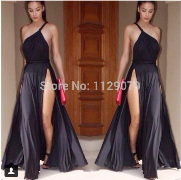 New 2014 hot legs summer black white cotton one shoulder nice side split junk gypsy open back maxi party casual dress om220
