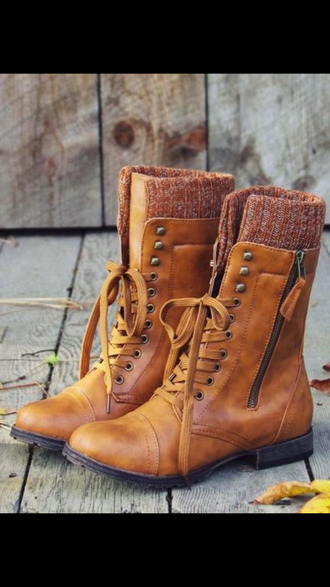 boots brown leather boots combat boots