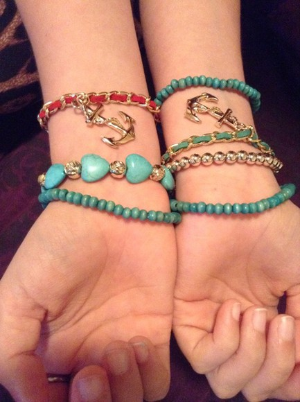 jewels bracelets summer anchors blue green