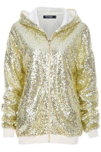 jacket hood zipper jacket gold gold sequins hoodie hoodie jacket glitter glitter dress shiny shinee hoodie coat trending