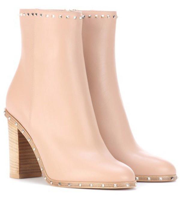 Valentino Garavani leather ankle boots in neutrals
