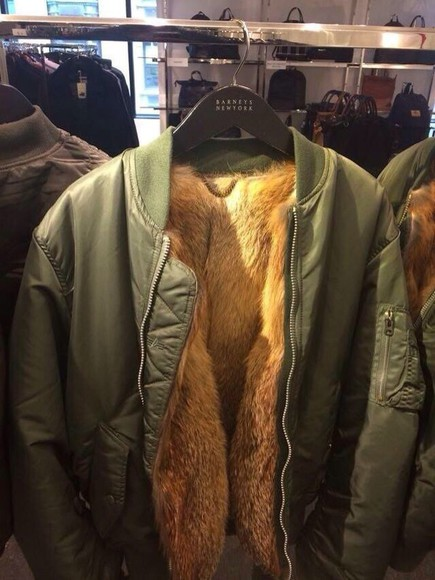 jacket green dress style fur vest fur jacket bomber jacket