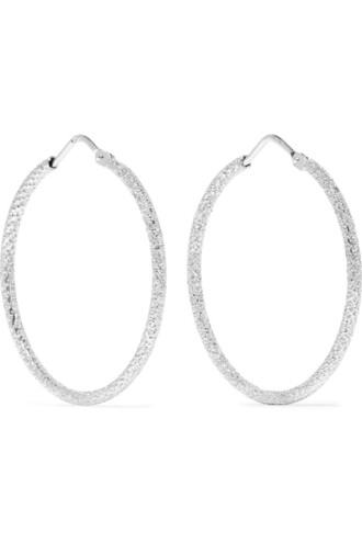earrings hoop earrings gold white jewels