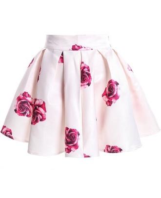 skirt rose white skirt floral pink roses flared skater skirt floral skater skirt