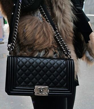 bag chanel le boy chanel chanel bag black fur