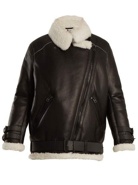 jacket shearling jacket oversized white black