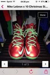 shoes,sneakers,red,green,lebron,lebrons,christmas,chris brown,michael jordan,size 6,size 6 in boys,india love,nike,swag