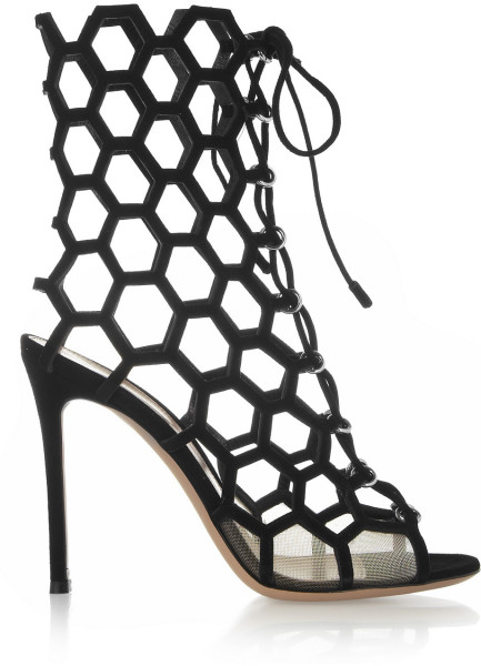 Gianvito Rossi Black Cutout Suede Sandals