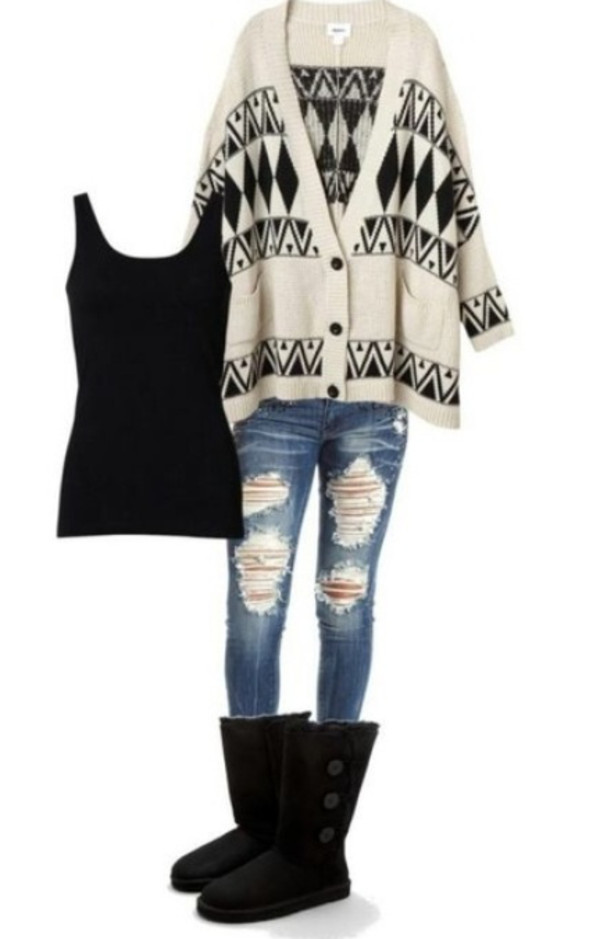 sweater jeans cardigan