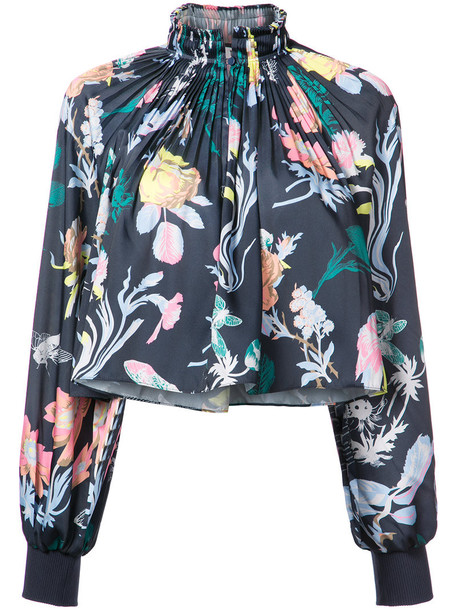 Tibi top cropped women floral blue