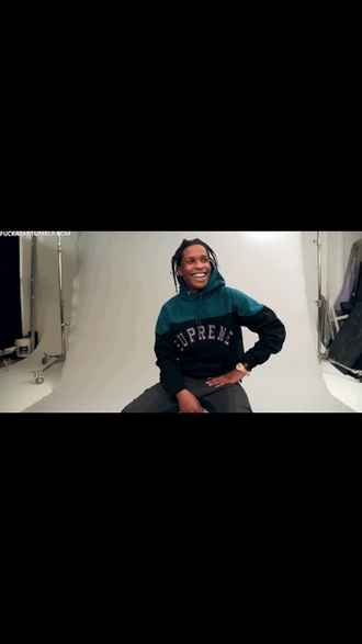 sweater a$ap rocky sweatshirt supreme supreme sweater teal turquoise black