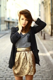 skirt,gold,metallic