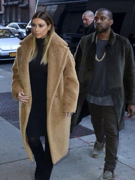 oversized brown coat coat furry coat kimye,