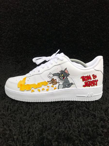 shoes, nike air force 1, tom & jerry, tom and jerry, nike