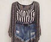jeans,black and white,crop tops,sweater,shorts,cardigan,High waisted shorts,blouse,striped top,bustier,grey cardigan,oversized cardigan,jacket,girl,grey,black,shirt,swag,stripes,tank top,white tank top,waistcoat,summer,top,knitted cardigan,white,b&w,oversized sweater,gold necklace,denim shorts,belt,gold,denim,ripped,necklace,layered,layers,outfit,rebel,high waisted,jewels,stripes black and white
