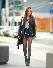 chloe ting,blogger,jacket,t-shirt,shoes,leather jacket,denim shorts