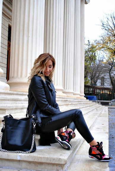high top sneakers blogger bag let's talk about fashion ! jacket leather jacket