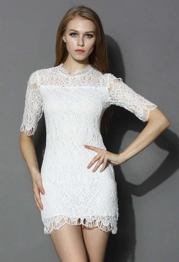 Baroque Full Lace Shift Dress in White - Retro, Indie and Unique Fashion