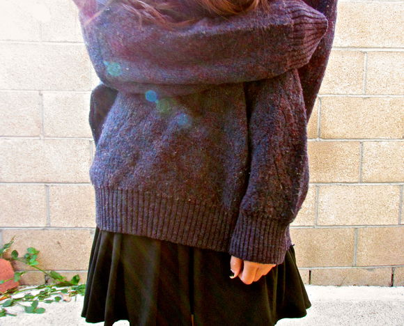 sweater soft grunge grunge girly grunge cute hipster dress black little black dress oversized sweater purple blue outside dark fall winter outfit cute dress cute outfits
