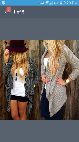 cardigan grey sweater polka dots knitwear cover up fitting